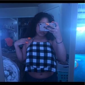 Barely used black and white checkered crop top
